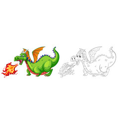 doodle animal for dragon blowing fire vector image