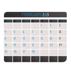 february 2019 calendar vector image