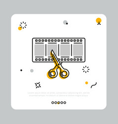 Filmstrip with scissors in simple icon vector