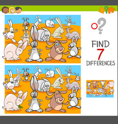 Find differences with rabbits animal characters vector