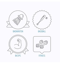 Fitness sport biceps and baseball icons vector
