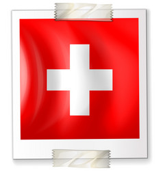 Flag of switzerland on paper vector