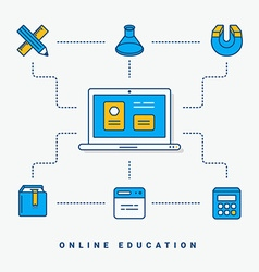 Flat conceptual Online education thin line for vector