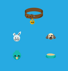 Flat icon animal set of bunny hound necklace vector