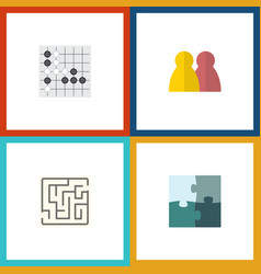 flat icon games set of gomoku labyrinth jigsaw vector image