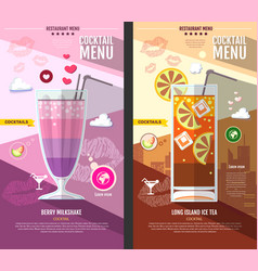Flat style cocktail menu design vector