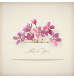 Floral spring Thank you pink flowers card vector image vector image