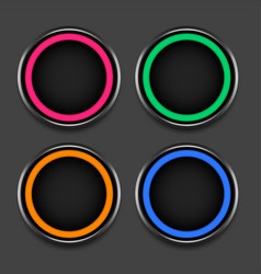 four colors shiny frames or buttons set vector image