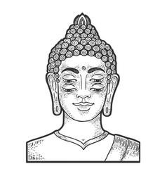 Four eyes buddha sketch engraving vector
