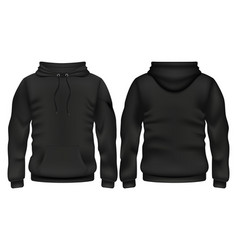 Front and back black hoodie template vector