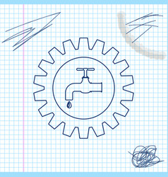 Gearwheel with tap line sketch icon isolated on vector