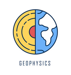 Geophysics color icon study earth crust and vector