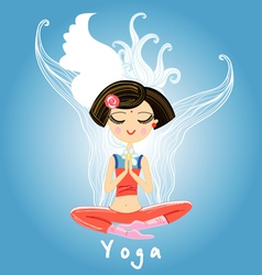 Girl engaged yoga vector