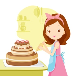 Girl making cake vector
