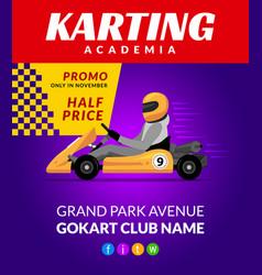 go kart race background poster karting race car vector image