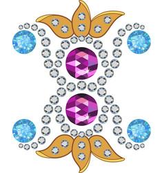Gold gemstones brooch vector image