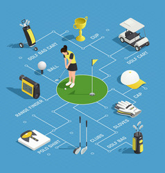 golf isometric flowchart vector image