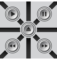 Gray 3D media buttons vector image