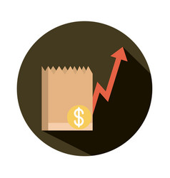Grocery bag money going up arrow rising food vector