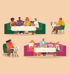 group people eating and talking in restaurant vector image