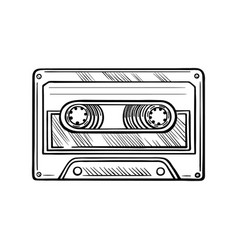 hand-drawn cassette tape doodle vector image