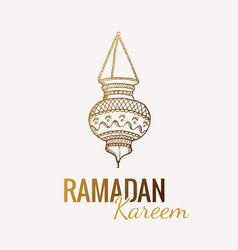 Hand drawn sketch of ramadan kareem flashlight vector