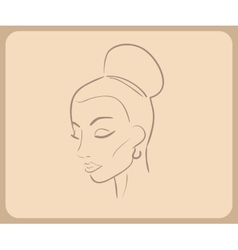 Handdrawn sketch of woman face with closed eyes vector image