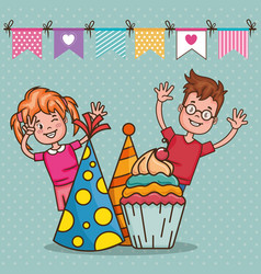 Happy birthday card with little kids vector