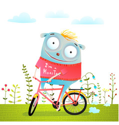 Happy creature monster animal riding bike vector
