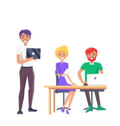 happy employees colorful card vector image