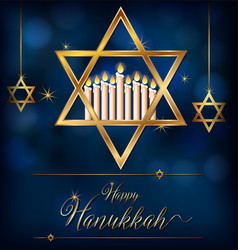 happy hannukkah card template with jewish symbols vector image
