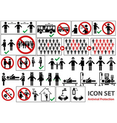 icon set pandemic vector image