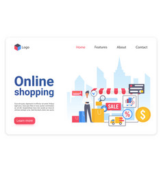 internet shopping landing page flat vector image