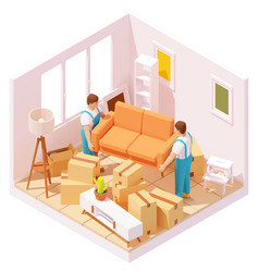 Isometric movers carrying sofa in room vector