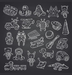 Kid toys set hand drawn vector