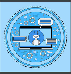 laptop computer with chatbot modern chatterbot vector image