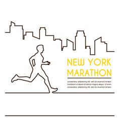 Line silhouettes of male runner running marathon vector
