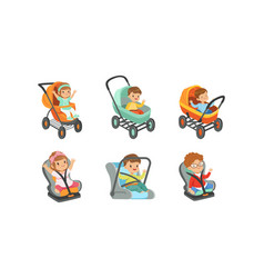 little toddlers sitting in baby carriage or pram vector image