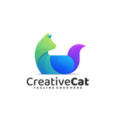 Logo creative cat gradient colorful style vector