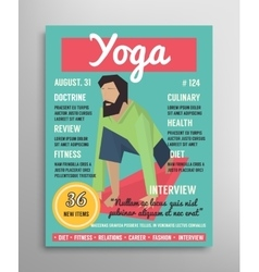 Magazine cover template Yoga blogging layer vector