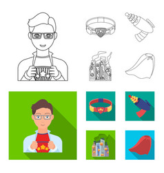 Man young glasses and other web icon in outline vector