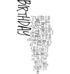 Milestone birthdays text background word cloud vector