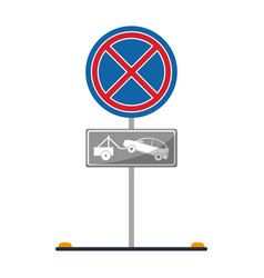 no parking road sign crane car vector image