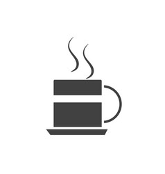 office hot coffee cup breakfast silhouette vector image
