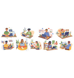 online study homework games child with computer vector image