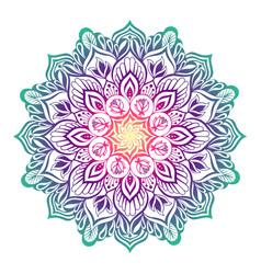 Oriental mandala with lotus flowers vector