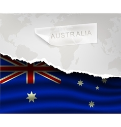paper with hole and shadows australia flag vector image