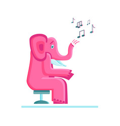 pink elephant and musical notes vector image