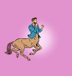 Pop art businessman centaur ready to fight vector