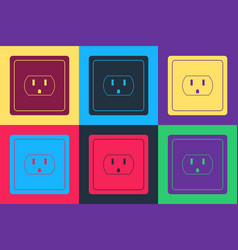 Pop art electrical outlet in usa icon isolated vector